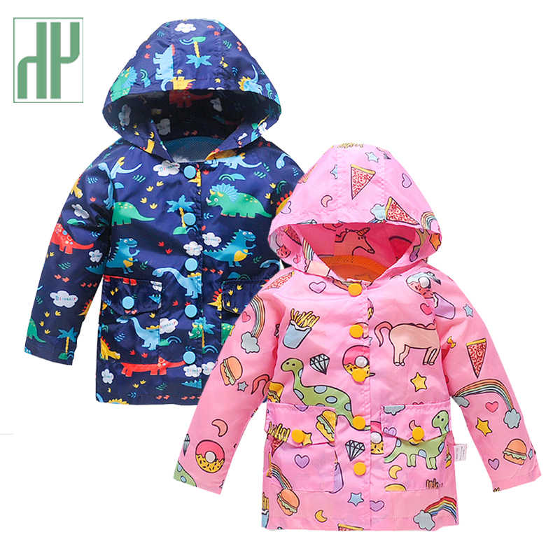 Kids jacket Boys Girls Rain Jacket Outdoor Lightweight Dinosaur Raincoats Waterproof Hooded spring jacket boys coats Mesh Liner
