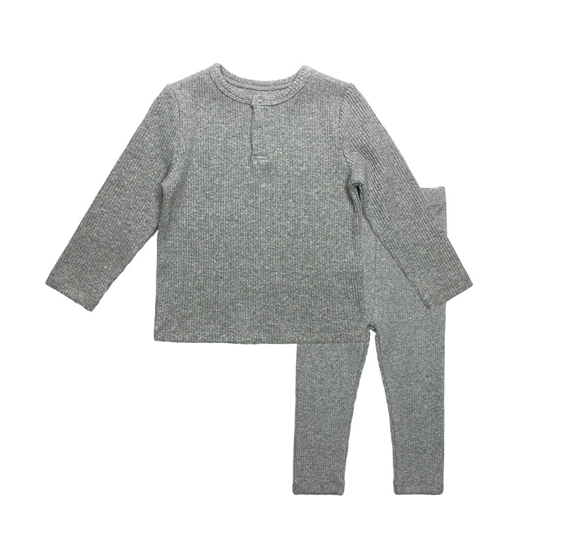 Soft Ribbed Toddler Girl Pajamas For Baby Boys Clothes Set Autumn Winter Children Outfits Long Sleeve Tops Pants 2 Pcs Kids Suit (26)