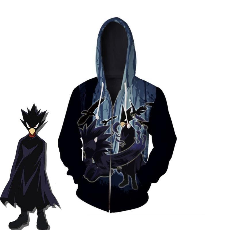Anime My Hero Academia Tokoyami Fumikage Cosplay Costumes Hoodies Boku No Hero Academia Zipper Sweatshirt Sportswear Jacket Coat