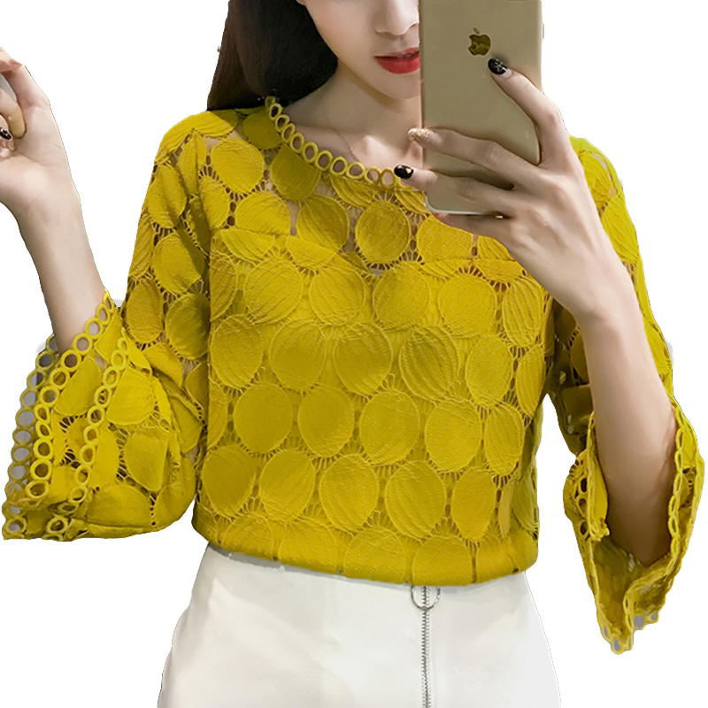 2019 White Lace Blouse Women Shirt Summer Korean Style Flare Sleeve O-Neck Hollow Out Casual Ladies Lace Tops Blusa Feminina
