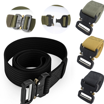 Men's Outdoor Tactical Belts Nylon Military Waist Belt with Metal Buckle Adjustable Heavy Duty Training Waist Belt military web belt 1 5 inch rapid release gun belt tactical nylon duty belt with buckle multifunctional gear outdoor equipment