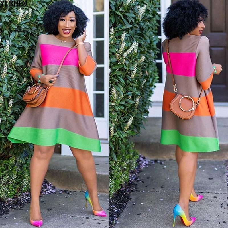 African Dresses For Women African Clothes Africa Dress Rainbow Stripe Print Dashiki Clothing Ankara Plus Size Africa Woman Dress