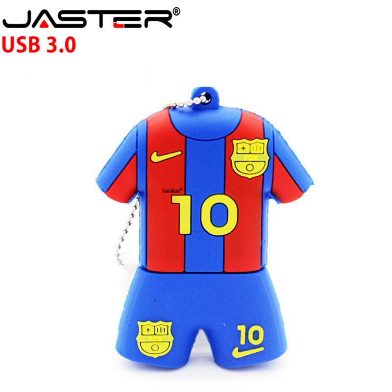 JASTER  3.0 Barcelona Soccer Jersey Barca Messi Pendrive Usb Flash Drive 4GB 8GB 16GB 32GB Football Pen Drive Gift Free Shipping