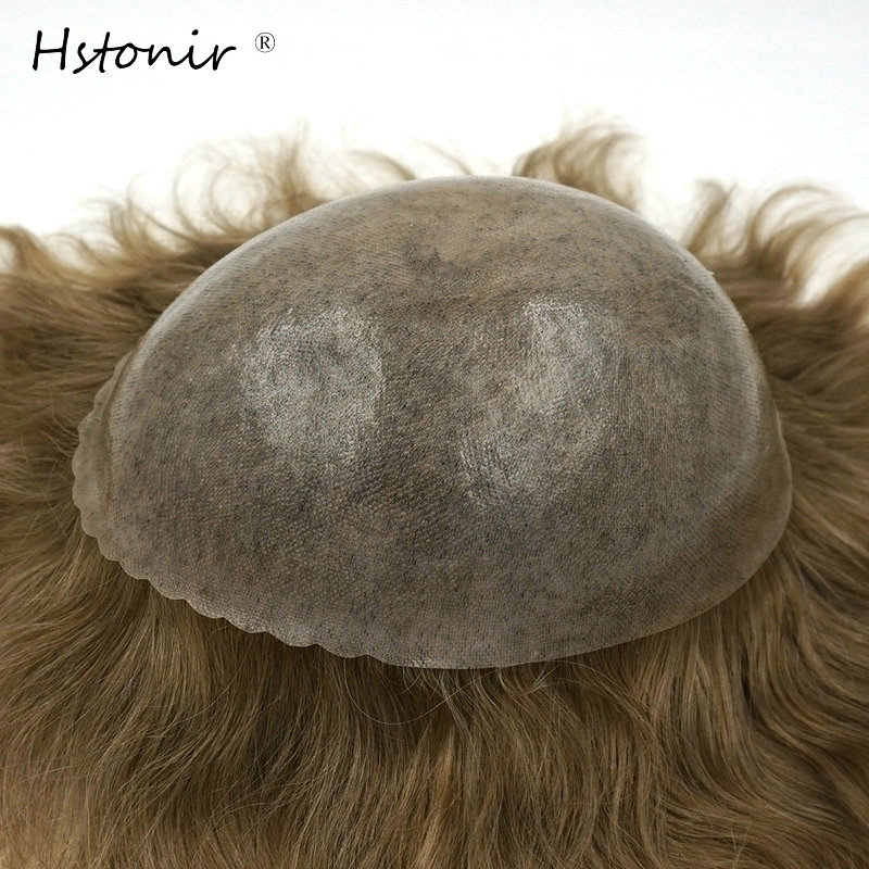 Hstonir Skin Pu Toupee Soft Hair Piece Real Hair Replacement Hairpiece Poly Natura Indian Remy Hair Mens Hair Pieces H082