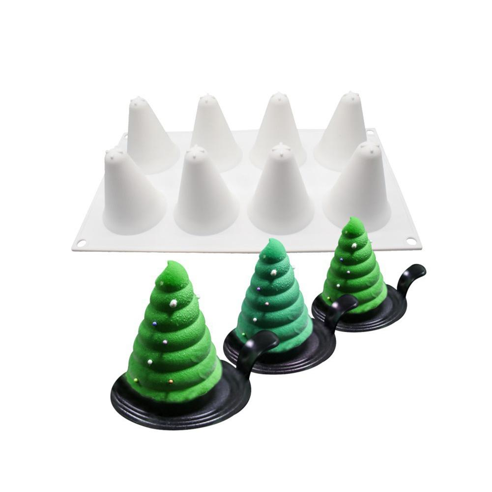 Christmas Tree Silicone Mold Cake Decorating 8 Cavity 3D Shaped Mousse Molds For Tools Non-stick DIY Baking Cake Moulds