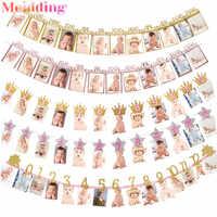 Feliz cumpleaños 12 marco de fotos de meses Banner Bunting decoración para fiesta de primer cumpleaños niños bebé niño niña 1er año decoración de fiesta