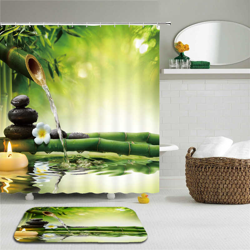 Jardin Zen Set Tenda Della Doccia Con Ganci tessuto 3d bagno tende da doccia tenda Verde impermeabile Tende Da Bagno O Zerbino