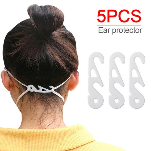 5Pcs Ear Buckle Face Mouth Wearing Relief Pain Ear Protector Adjustment DIY Ear Hook For Most Disposable Men Women Child Mask