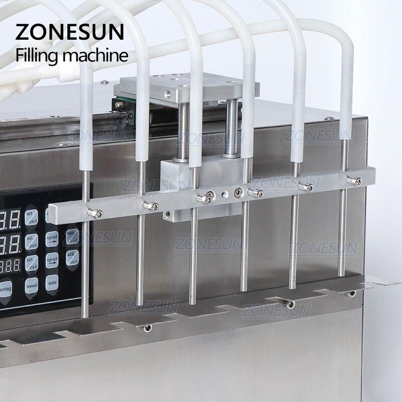 ZONESUN 6 głowic samozasysająca torba na napoje maszyna do napełniania cieczy sterowanie cyfrowe kompaktowa precyzyjna maszyna do napełniania numerycznego