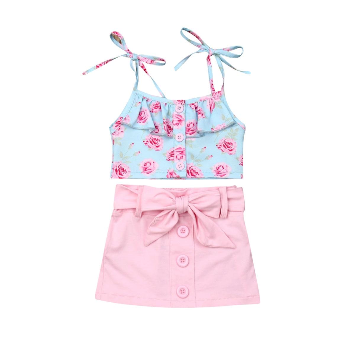 Футболка для маленьких девочек, топ без рукавов с цветочным рисунком + розовая юбка с бантом, летний комплект из 2 предметов, летний детский п...