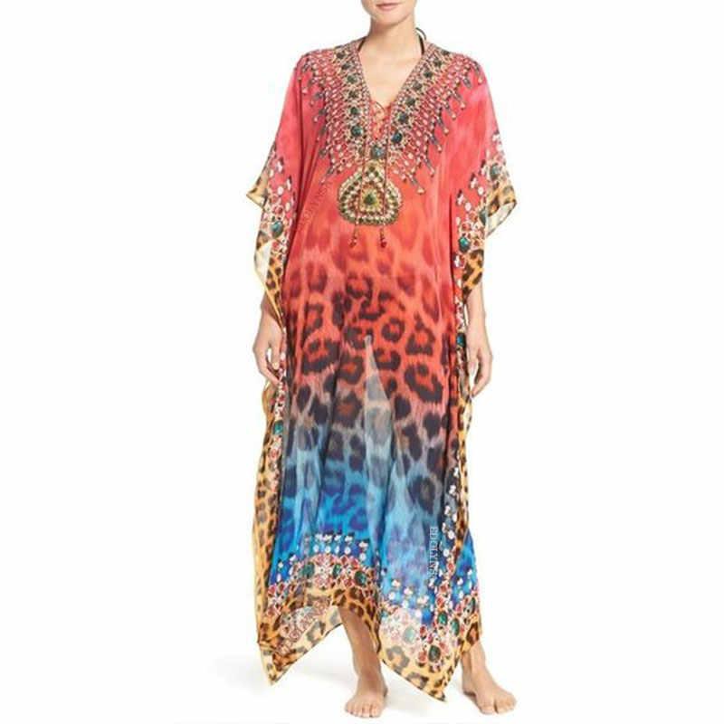 2020 ביקיני כיסוי קופצים אדום בוהמי נמר מודפס קיץ חוף שמלת שיפון טוניקת נשים החוף ללבוש לשחות חליפת כיסוי עד Q993
