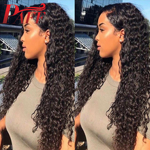 Paff 13x4 Long Natural Black Kinky Curly Synthetic Lace Front Wig Pre Plucked Remy Hair with Natural Hair and Baby Hair