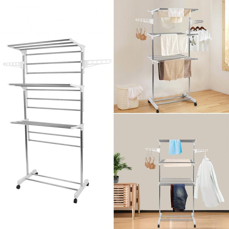 Upgrade Storage Folding Storage Operation Stainless Steel Drying Rack Floor Folding Indoor Household Drying Rack Three Layer HWC