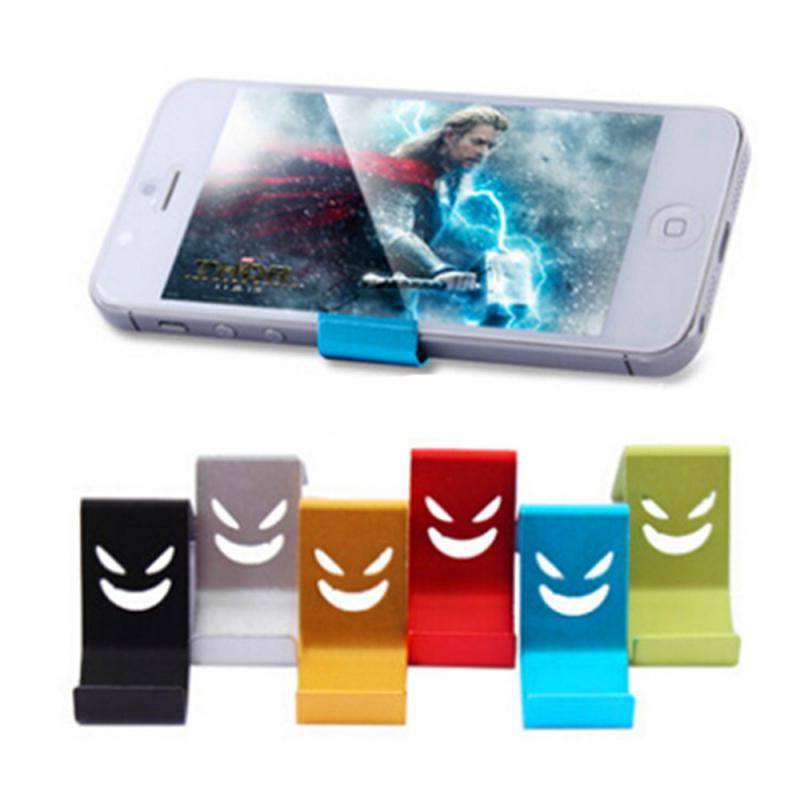 New 1pcs Random Color Metal Devil Smile Universal Mobile Cell Phone Stand Holder Metal Cell Phone Holder For Ipone X Car Stand