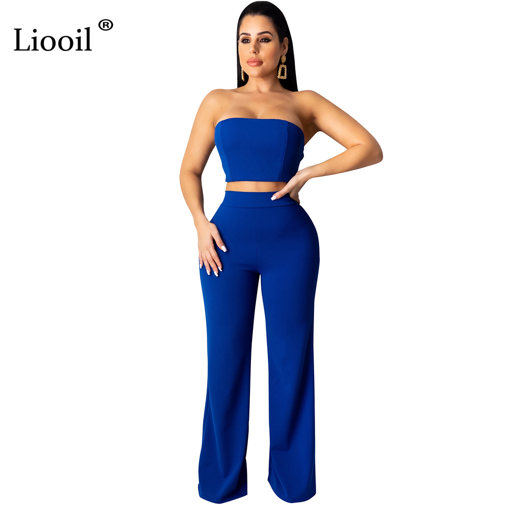 Liooil Blue White Two Piece Set Party Club Outfit For Women 2019 Sleeveless Strapless Lace-Up Sexy Tube Top And Straight Pants