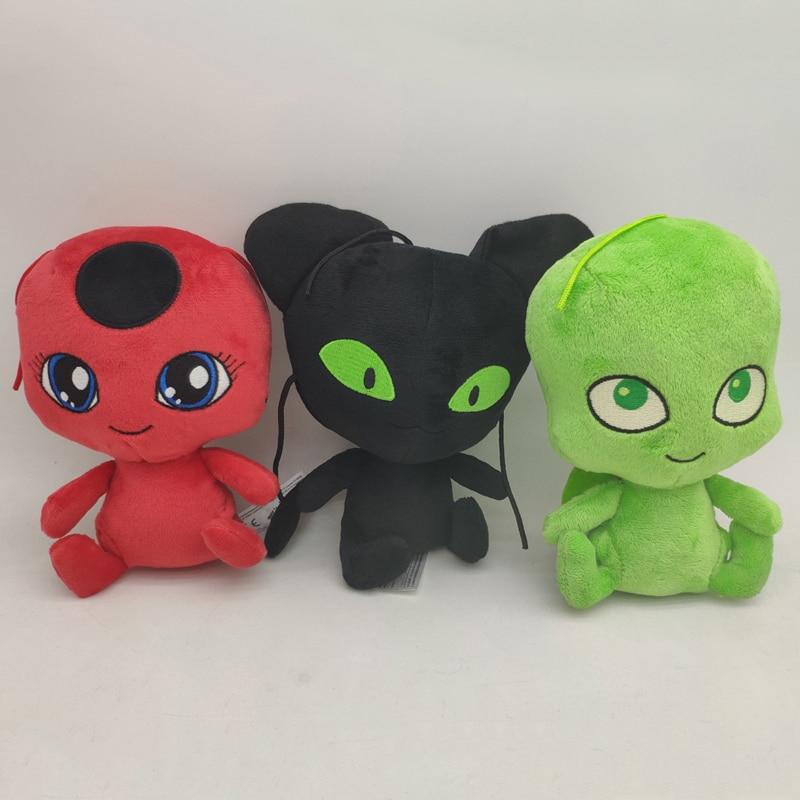 3pcs/lot 15cm Ladybug Plagg & Tikki Cat Plush Pendant Keychain Lady Bug Cat Plagg & Tikki Noir Plush Stuffed Toys Doll Kids Gift