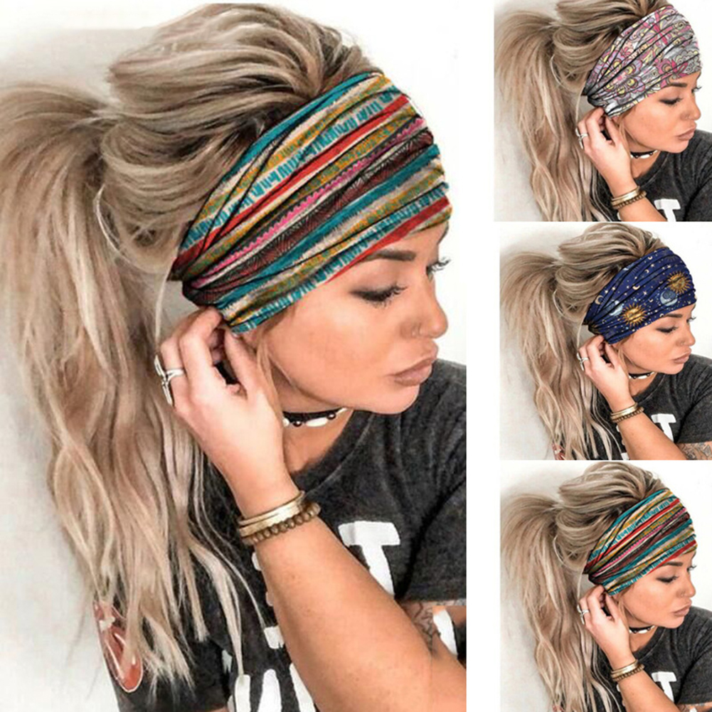 New Wide Boho Cotton Head Turban For Women Girls Cashew Leopard Snake Headbands Headband Bandana Hair Accessories
