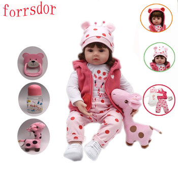Forrsdor 47 cm soft silicone bebe reborn baby toys bebes reborn  cute giraffe set children's best birthday gift surprise warkings reborn