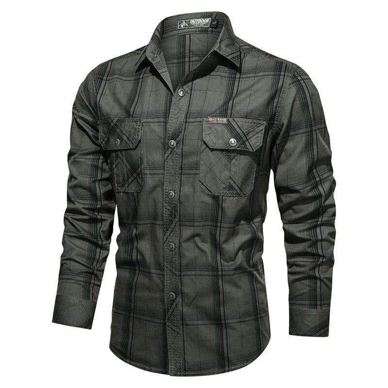 New 2020 100% Cotton Men Plaid Shirt Casual Oversized Stand Collar Autumn Shirts for Men Fashion Button Pocket Men's Shirts