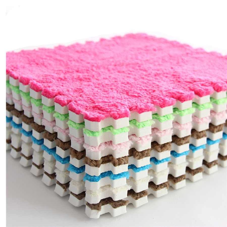 12Pcs DIY 30*30*1cm Living Room Bedroom Children Kids Soft Carpet Magic Patchwork Jigsaw Splice Heads  Baby Climbing Mat
