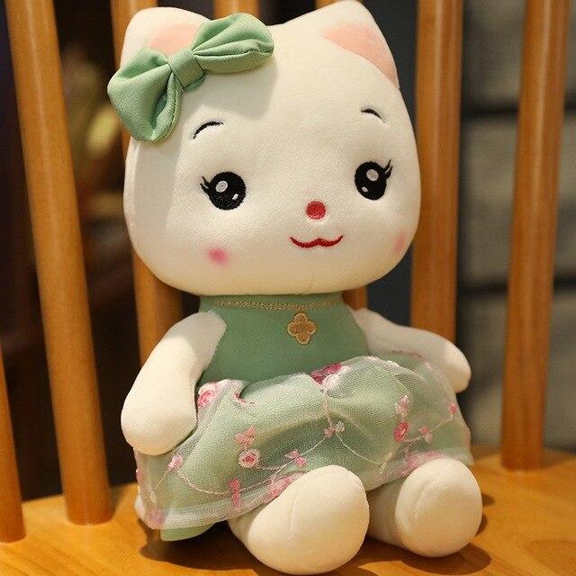 Beautiful Gauze Skirt Cats Plush Toys Soft Stuffed Cartoon Animal Pussy Doll Birthday Gift For Girlfriends Kids Home Decor