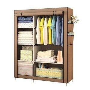 Image 1 - Grande garde robe moderne minimaliste renforcée, bricolage, armoire de rangement en tissu Non tissé, Portable et pliable, placard anti poussière