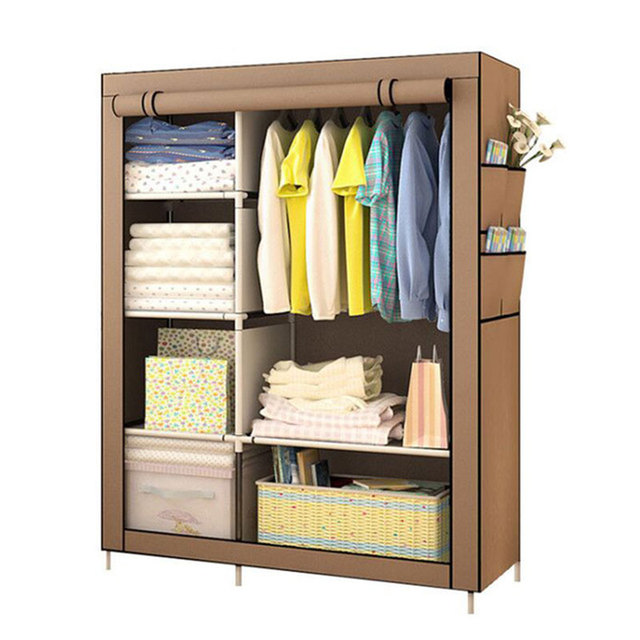 Grande garde robe moderne minimaliste renforcée, bricolage, armoire de rangement en tissu Non tissé, Portable et pliable, placard anti poussière