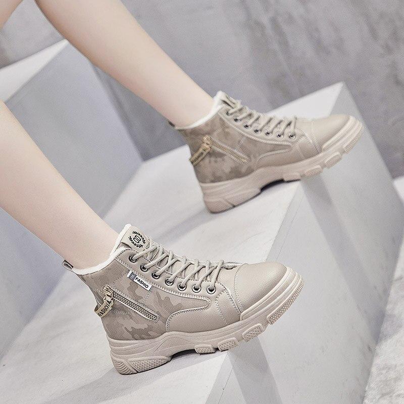Женские кроссовки на платформе, повседневные Мягкие кроссовки из искусственной кожи на массивной вулканизированной подошве, теплая обувь для отдыха, новинка зимы 2020|Кроссовки и кеды| | АлиЭкспресс