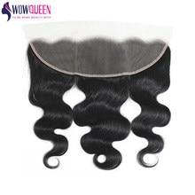 WOWQUEEN cheveux brésilien corps vague frontale 13 × 4 dentelle frontale 100% Extensions de cheveux humains couleur naturelle corps vague fermeture Remy cheveux