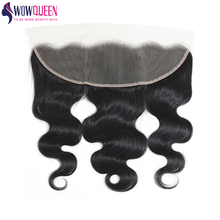 100%Human-Hair-Extensions Closure Wowqueen Hair Body-Wave Brazilian Remy-Hair Lace-Frontal