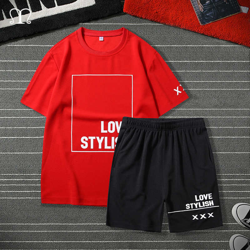 Conjunto para Hombre De moda, Camiseta corta De dos piezas, Ropa De marca, chándal De Hip Hop para Hombre, Tops, Ropa deportiva para correr, chándal De Hombre