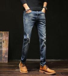 Модные Повседневные тонкие Стрейчевые джинсы, классические мужские длинные брюки, Лидер продаж, 2020