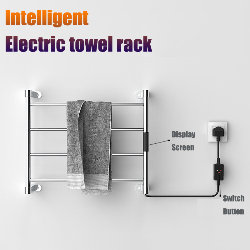 304 Stainless Steel Electric Towel Rack With Led Timer Towel Warmer Rack 4 Bars Ladder Clothes/towel Warmer Rack For Bathroom Promoting Health And Curing Diseases