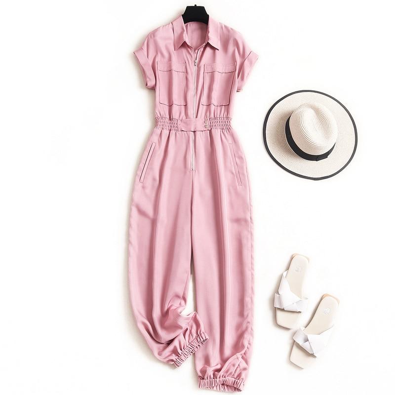 Safari Style  Rompers Womens Jumpsuit Pink Green Pockets  Solid  Fashion Nova Woman  Streetwear  Rompers Womens 2020 Summer 1