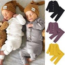 Осенняя одежда для маленьких девочек однотонная Пижама на пуговицах с тыквой, футболка, топы, пижама, брюки Ropa ninana, повседневная домашняя одежда для сна для маленьких мальчиков