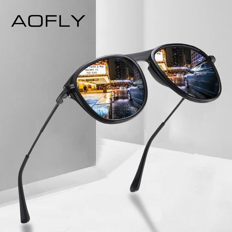 AOFLY Brand Design Pilot Polarized Sunglasses Men Acetate Frame Anti-glare Driver