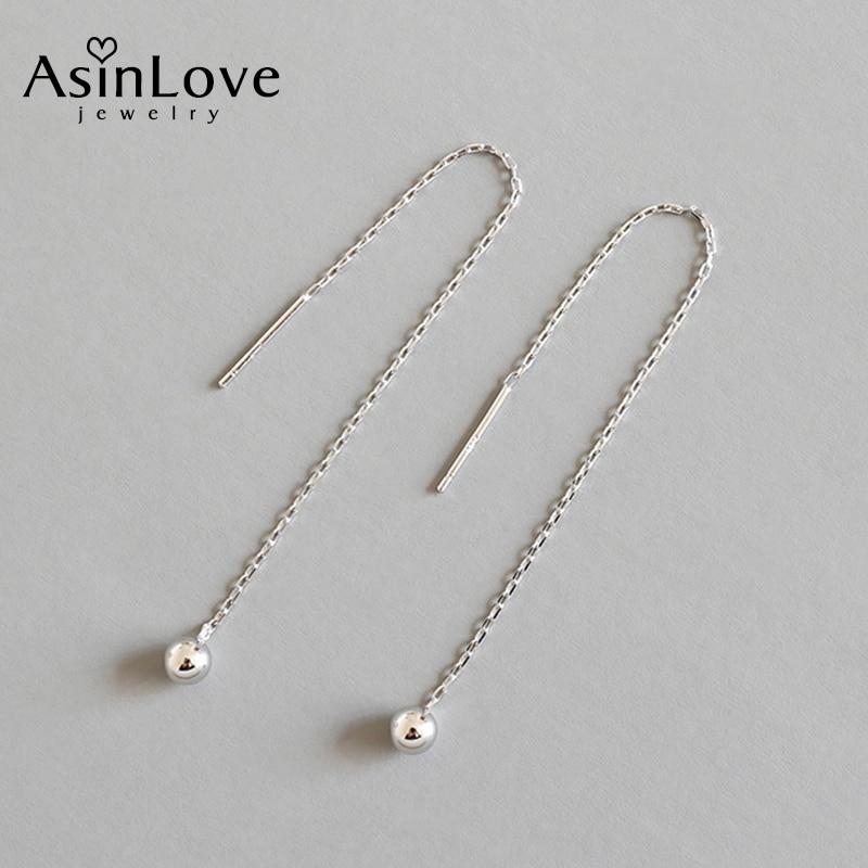 AsinLove 925 Sterling Silver Round Bead Chain Long Earrings Minimalist Textured Elegant Drop Earrings Female Jewelry Girls Gifts