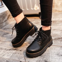 Women Winter Ankle Boots Pu Leather Women Boots Work Shoes Round Toe Lace-Up Women Shoes Black Brown Female Ankle Boots A-333 lakeshi round toe women boots winter boots female ankle boots women fashion lace up casual shoes woman plus size cotton shoes