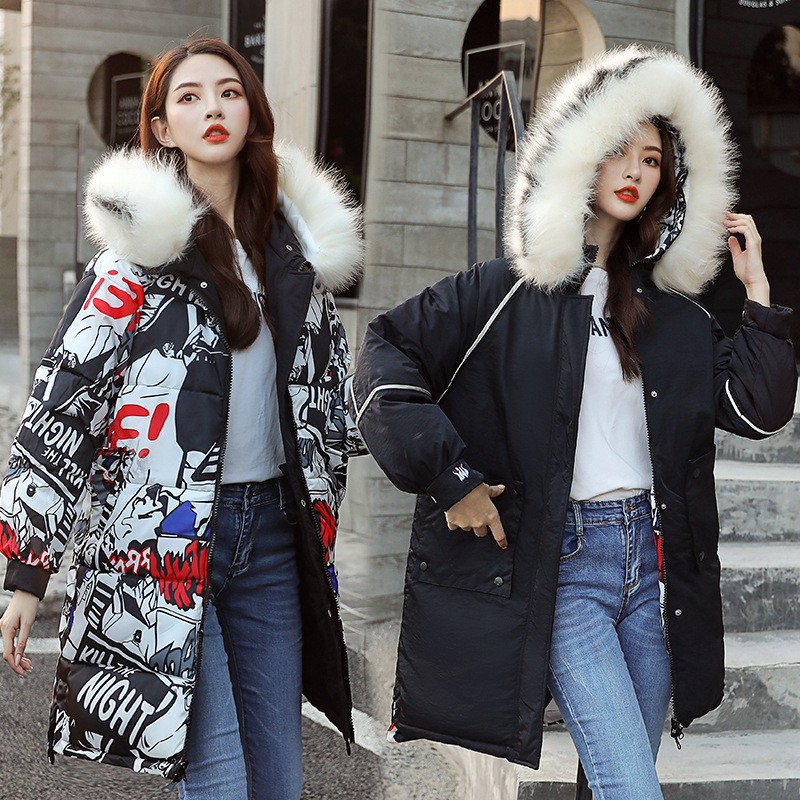 Cotton-padded Jacket Women's 2019 New Style Korean-style Thick Printed Reversible Down Jacket Cotton-padded Clothes Women's Mid-