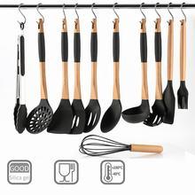 ชุดเครื่องครัว 11 ชิ้นซิลิโคน Non Stick อุปกรณ์ทำอาหารชุด S รูปตะขอโลหะไม้ Handle เครื่องครัวชุด