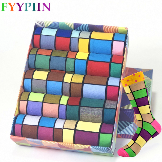 Colorful Autumn And Winter cotton socks geometric lattice classic business casual happy socks men