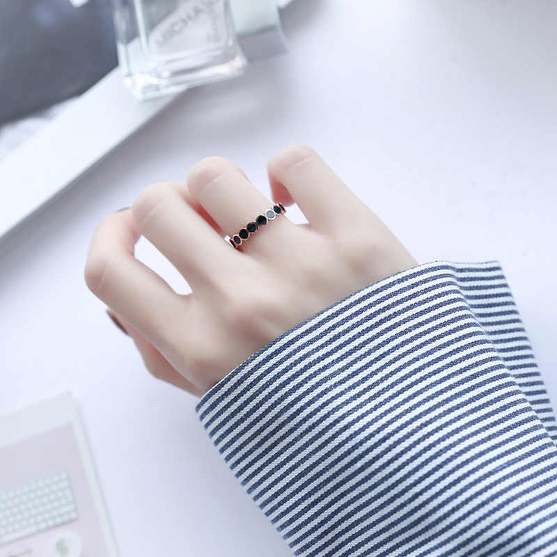 KLOPFEN hochwertige Mode Schwarz bohnen frauen engagement Ringe 3 mm Breite Rose Gold Farbe Finger Geschenk Für Mädchen schmuck