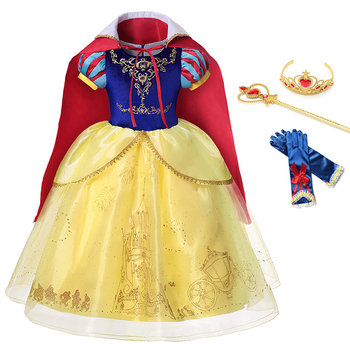 цена на Children Snow White Dress Girl Princess Dress Cosplay Costume Sequins Pattern Fancy Clothes Kids Birthday Gift Party Ball Gown