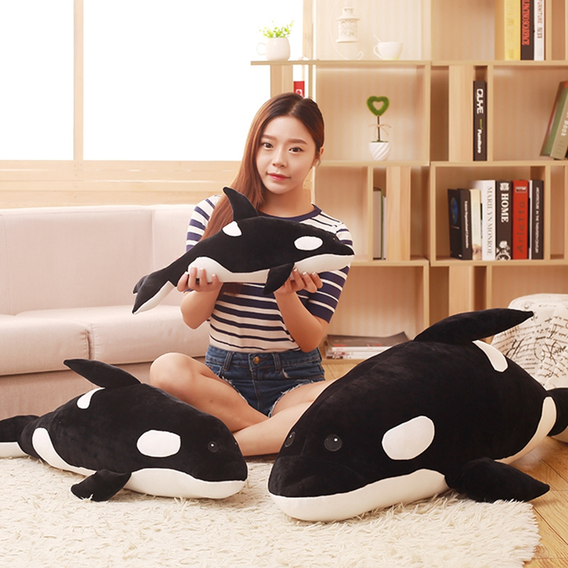 Killer <font><b>Whale</b></font> Pillow <font><b>Whale</b></font> Orcinus <font><b>Orca</b></font> Black and White <font><b>Whale</b></font> Shark Kids Boys Girls Doll Toy Kids Gift image