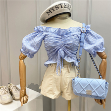 Women Plaid Blouse Sweet Ruffled Plaid Off-Shoulder Slash Neck Drawstring Lace-up Short Top Women's 2020 Summer Shirt Crop Top
