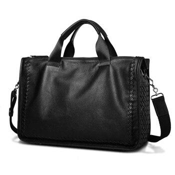 Men Shoulder Messenger Bag Genuine Cow Leather Laptop Bag Handbag Business Bag Men Handbag Sheepskin Leather Handbag for Male фото