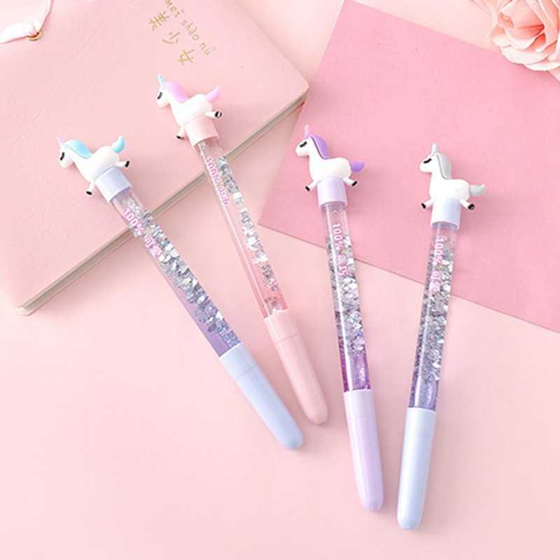 Милые гелевые ручки единорога 0,5 мм милые ручки блестящие хрустальные обычные ручки для девочек письма школьные канцелярские принадлежности