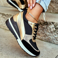 2021 Women's Sports Shoes Fashion New Lace-Up Wedge Female Vulcanized Shoes Tennis Casual Outdoor Platform Comfy Ladies Sneakers 1