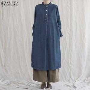 ZANZEA Autumn Long Sleeve Denim Blue Midi Dress Vintage Women's Ruffles Dress Kaftan Retro Solid Vestidos Plus Size Sundress
