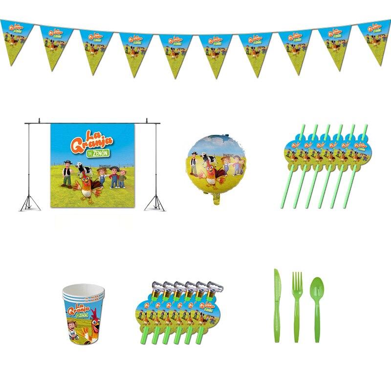 Декорации для дня рождения La Granja De zenon, ферма Зенон, тематические сувениры с животными для ТВ-шоу, питьевые чашки, соломинки для малышей